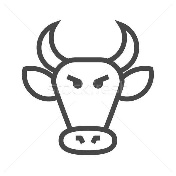 Bull Market Thin Line Vector Icon Stock photo © smoki