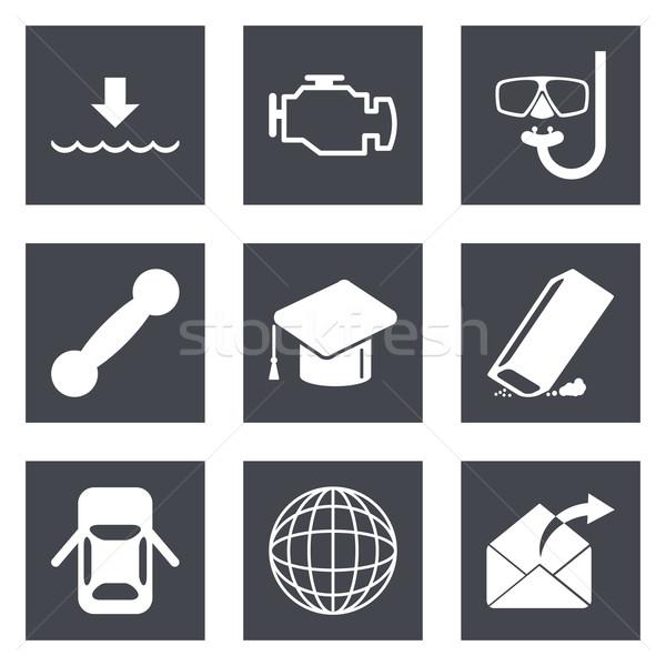 Iconen web design ingesteld 17 mobiele toepassingen Stockfoto © smoki