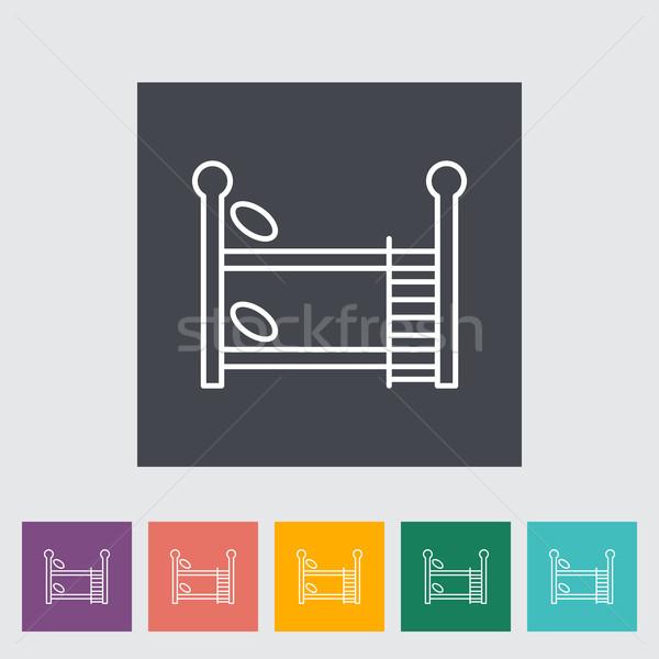 Stockfoto: Bed · dun · lijn · vector · web