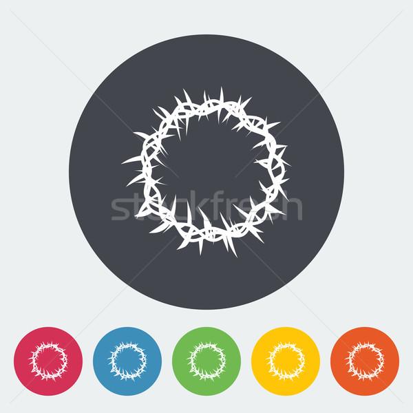 ?rown of thorns single flat icon. Stock photo © smoki