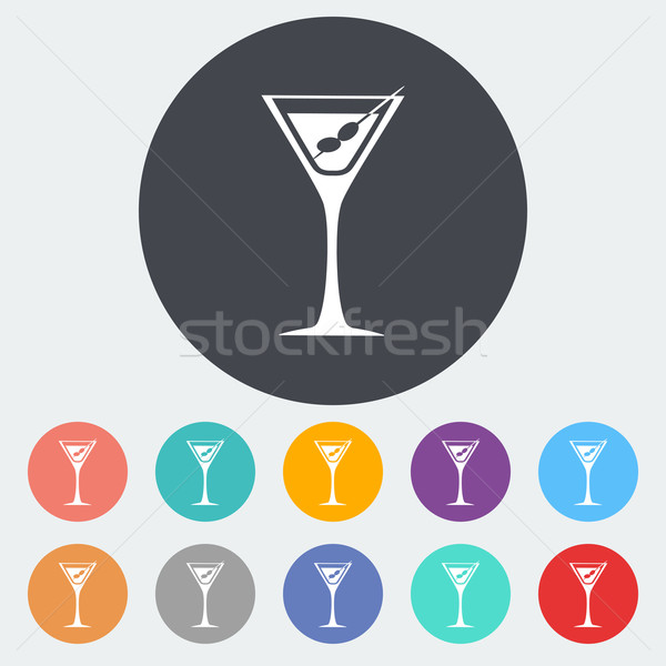 Martini icono círculo alimentos diseno vidrio Foto stock © smoki