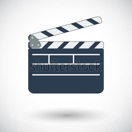 Yönetmen ikon beyaz televizyon arka plan imzalamak Stok fotoğraf © smoki