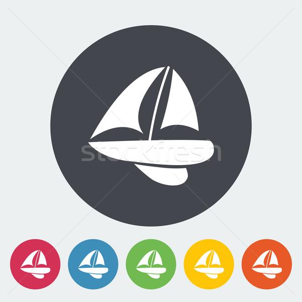 Yacht icône cercle art été signe Photo stock © smoki