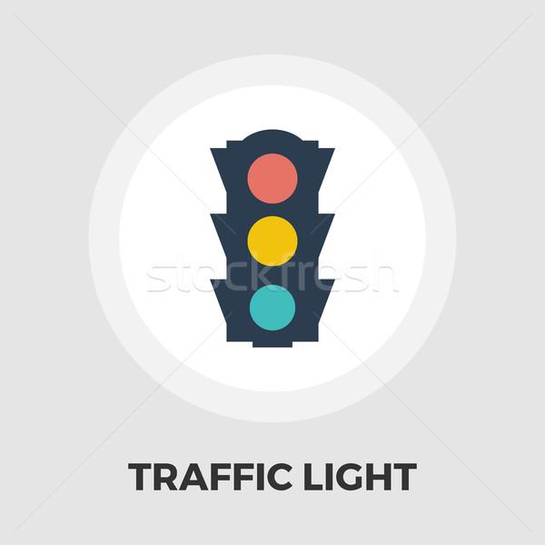 Traffic light icon flat Stock photo © smoki