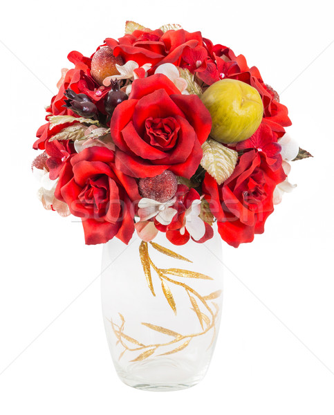 Stock photo: Bouquet od red roses and berry in glass vase