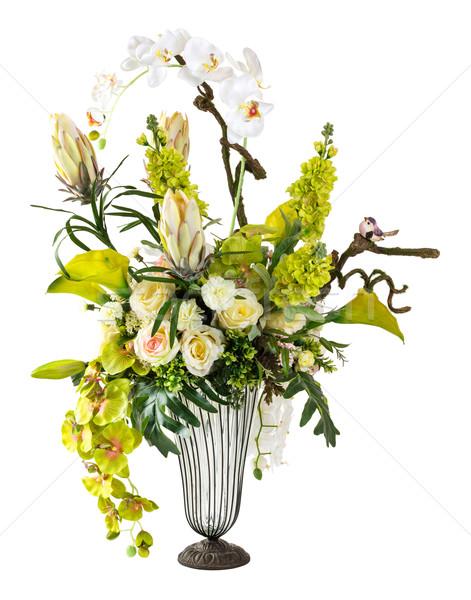 Сток-фото: букет · орхидеи · Лилия · стекла · ваза · изолированный