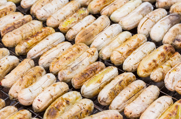 Pörkölt banán thai grillezett faszén étel Stock fotó © smuay