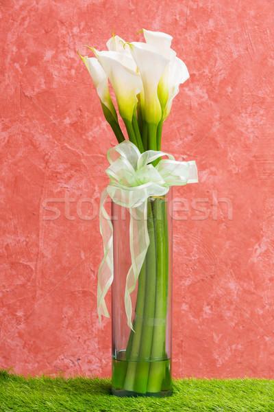 Fehér liliom üveg váza csokornyakkendő textúra Stock fotó © smuay
