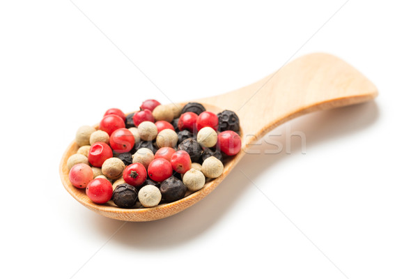 Colorful peppercorn in wooden spoon Stock photo © smuay