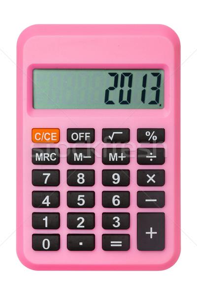 Сток-фото: розовый · калькулятор · отображения · числа · 2013 · изолированный