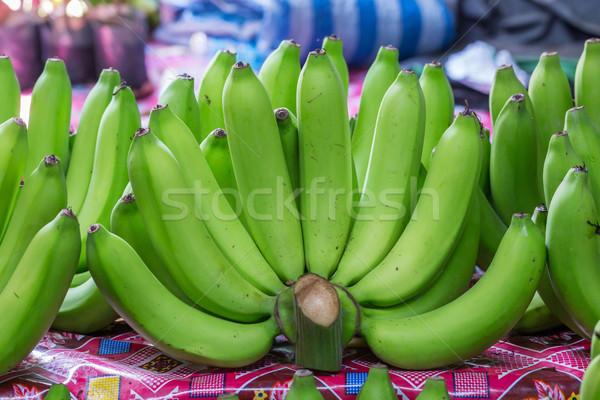 Zöld banán nyers vásár piac étel Stock fotó © smuay