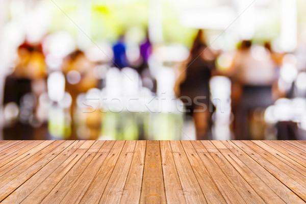 Oude houten tafel Blur coffeeshop lege klaar Stockfoto © smuay