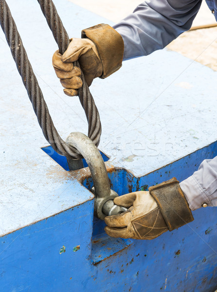 Fitting bolt anchor shackle with wire rope sling Stock photo © smuay