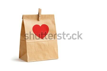 ブラウン 色 リサイクル 紙袋 木製 ペグ ストックフォト © smuay
