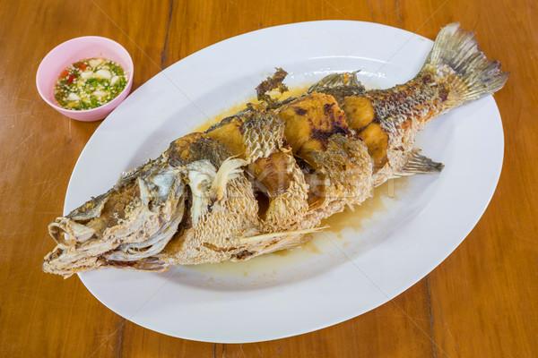 フライド 海 低音 魚 ソース シーフード ストックフォト © smuay