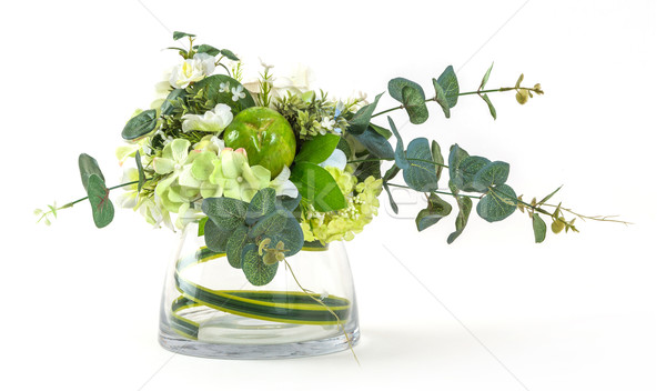 Bouquet of cosmos and eucalyptus in glass vase Stock photo © smuay