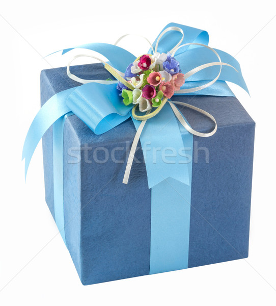 Blue gift box with bow tie Stock photo © smuay