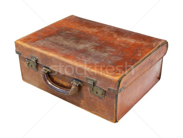 öreg bőrönd mellkas rozsdás barna szín Stock fotó © smuay