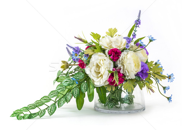 Bouquet og rose and carnation in glass vase  Stock photo © smuay
