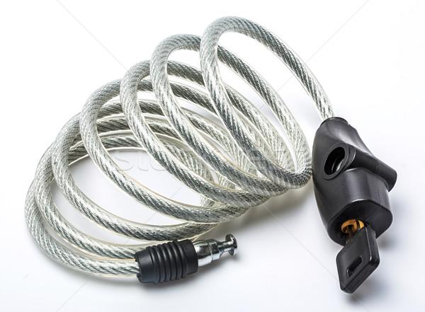 Kábel zár lakat kulcs izolált fehér Stock fotó © smuay