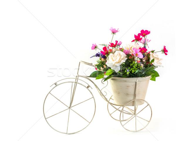 Buket çiçekler çelik kova mini üç tekerlekli bisiklet Stok fotoğraf © smuay