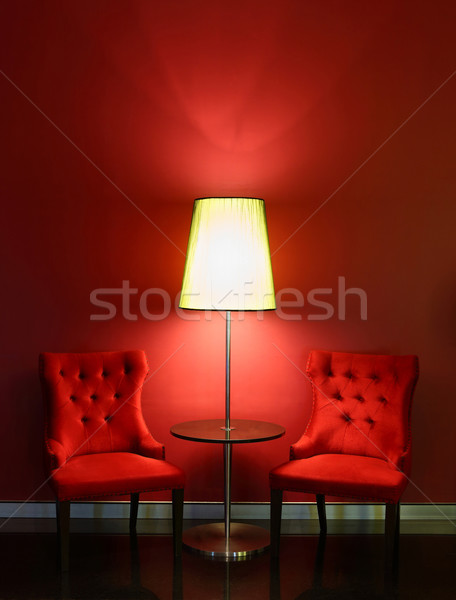 Red luxury chairs with table and lamp Stock photo © smuay