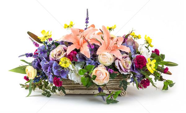 Photo stock: Bouquet · fleurs · argile · pot · rose · Lily