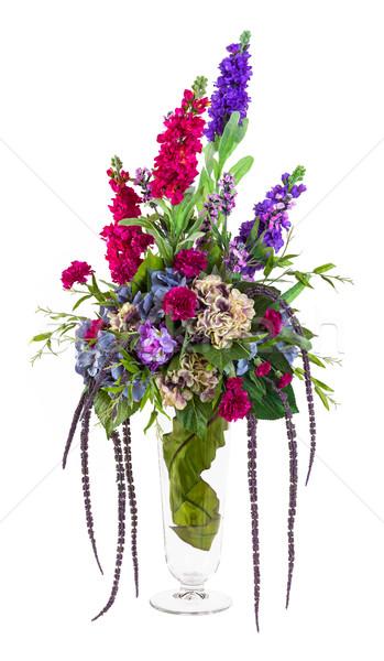 Photo stock: Bouquet · fleurs · œillet · chrysanthème · lavande · verre