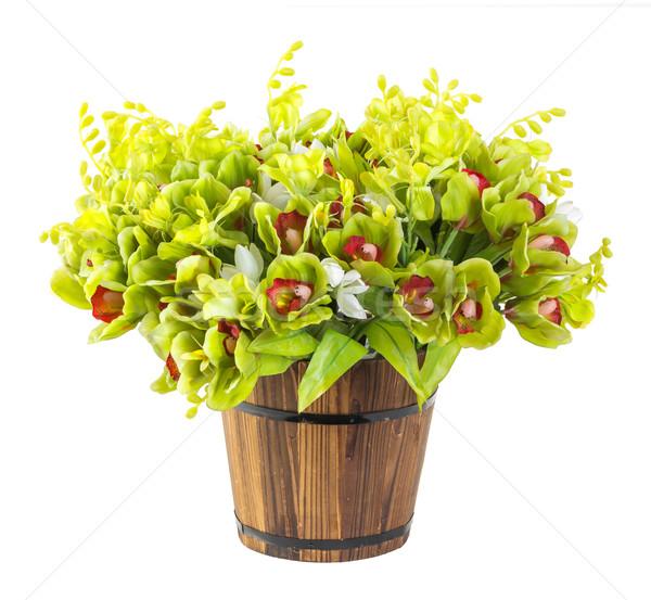 Virágcsokor orchidea fa vödör izolált fehér Stock fotó © smuay