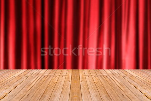 Eski ahşap masa bulanıklık kırmızı renk perde Stok fotoğraf © smuay