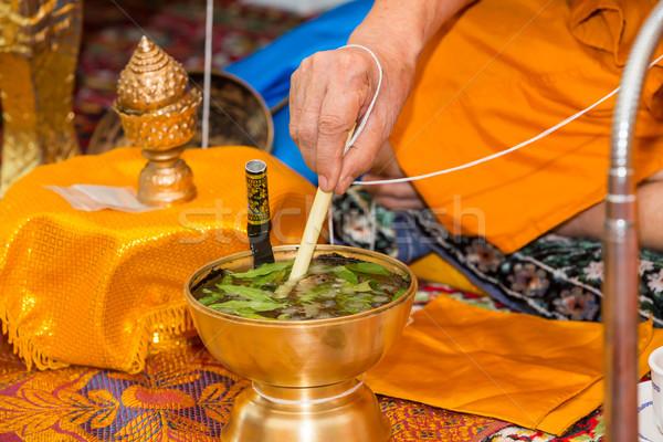 Monnik heilig water thai ceremonie blad Stockfoto © smuay