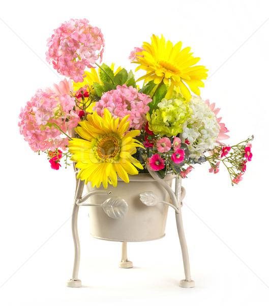 Bouquet of flowers in steel bucket Stock photo © smuay