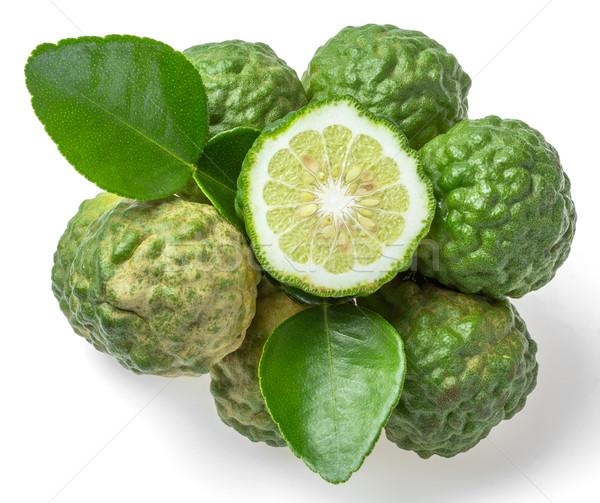 Foto stock: Frutas · aislado · blanco · textura · alimentos · hoja