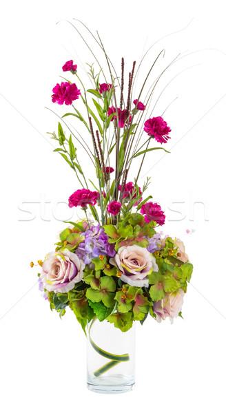 Photo stock: Bouquet · fleurs · rose · œillet · fleur · verre