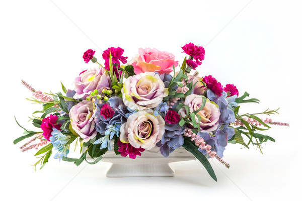 Photo stock: Bouquet · fleurs · céramique · pot · rose · Berry