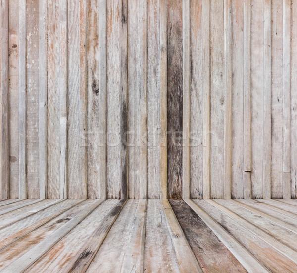 öreg fából készült fal padló viharvert textúra Stock fotó © smuay