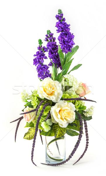 Virágcsokor rózsa levendula üveg váza izolált Stock fotó © smuay