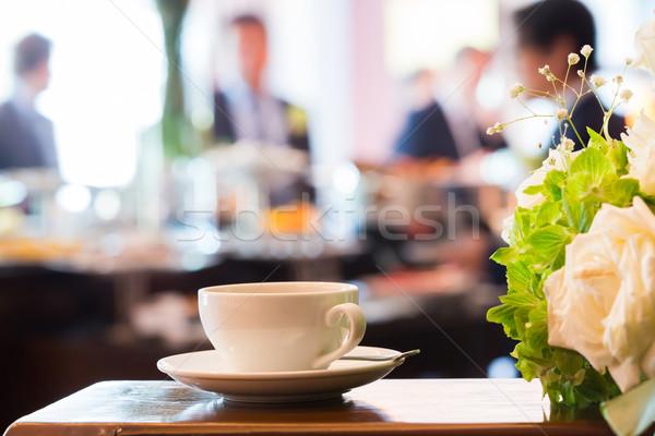 Kahve molası kirli kahve fincanı kaşık yemek Stok fotoğraf © smuay
