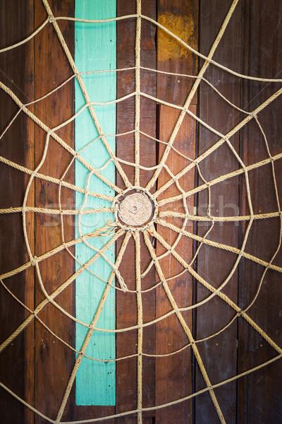 Pajęczyna liny stare drewno ściany świetle Zdjęcia stock © smuay