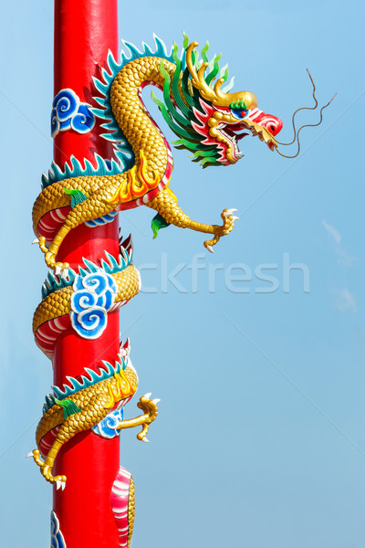 Dragon statue in chinese temple Stock photo © smuay