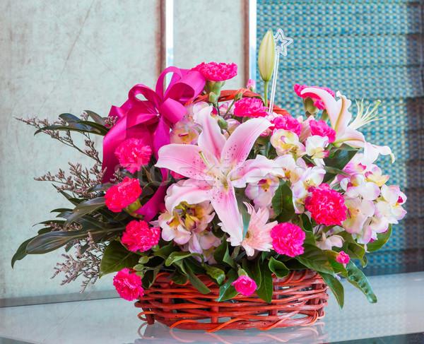 Virágcsokor virág fonott kosár liliom szegfű Stock fotó © smuay