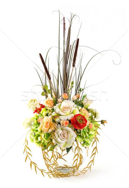 Сток-фото: букет · закрывается · стекла · ваза · цветок · изолированный