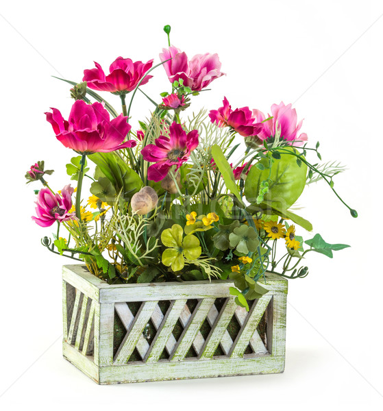 Cosmos flower in wood basket Stock photo © smuay