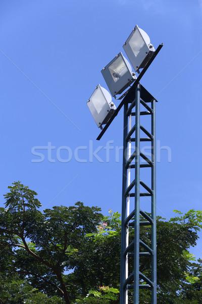 Rampenlicht blauer Himmel Himmel Hintergrund Farbe Stock foto © smuay