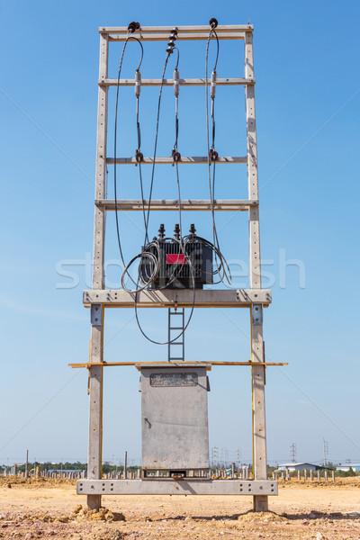 Elektryczne transformator nowego budowa technologii sieci Zdjęcia stock © smuay