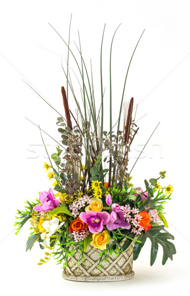 Bouquet of flowers in clay pot Stock photo © smuay
