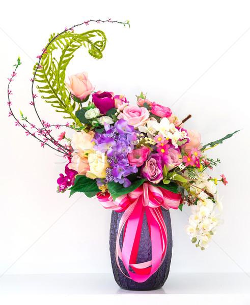 Virágcsokor virágok váza tavasz természet levél Stock fotó © smuay
