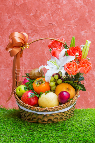 Basket of fruit and flower Stock photo © smuay