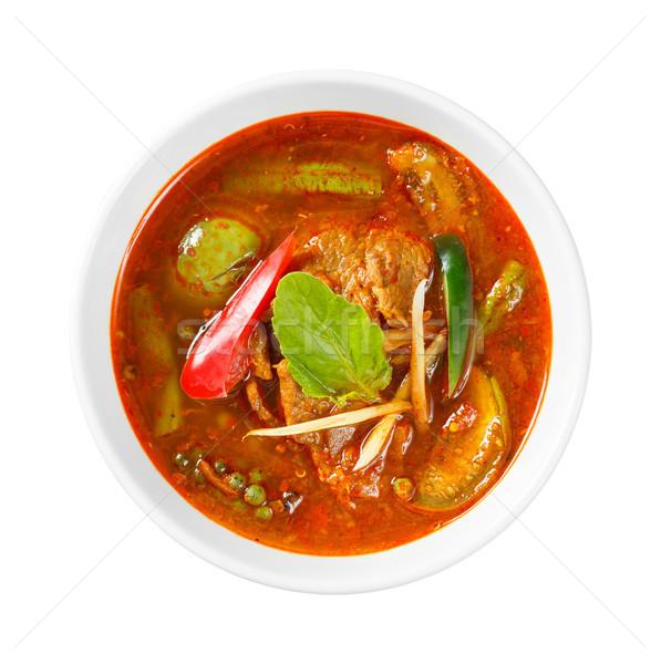 Picante rojo curry cerdo albahaca Foto stock © smuay