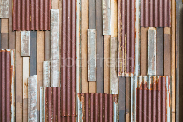 Old wood and rusty roofing sheet wall Stock photo © smuay